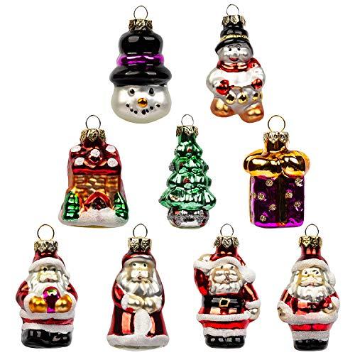 Kingyee Miniature Ornaments Set of 9 Glass Tree Decorations Mini Santa Snowman for Tabletop Desktop Trees Centerpiece