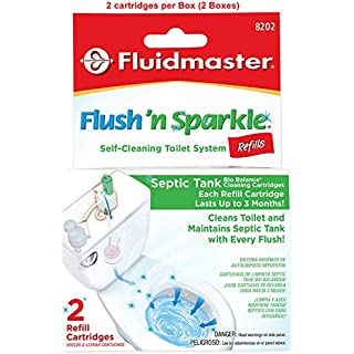 8202P8 Flush 'n Sparkle Automatic Toilet Bowl Cleaning System Refills, BioBalance Septic (Septic Cleaning Refills, 2 cartridges per Box (2 Boxes))