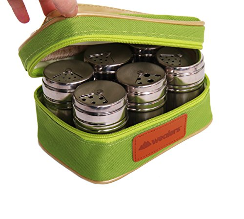 Wealers-6-Piece-Stainless-Steel-Salt-and-Pepper-Spice-Shakers-BBQ-Spice-Herbs-with-Pouch-for-Easy-Carry-Great-for-Home-or-Outdoor-Use