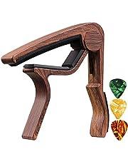 CoWalkers Accesorios para guitarra Accesorios de guitarra Acústica/Eléctrica/Bajo Capo para guitarra Trigger Capo Key Clamp Negro con 3 piezas (Café)