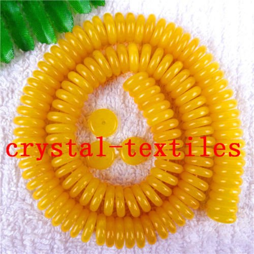 Gozebra(TM) 1Strand Nice Yellow Malay Jade Round Interval Beads 103mm Length15.5inch (Interval Beads)