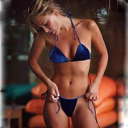 Da Beach Vintage donne Reggiseno Blu Sandy Bagno velluto Spaccato Koly Bikini Costume Del 8EqBwta