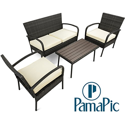 Pamapic Outdoor 4Piece Patio Furniture Sets 【PS Board Table】, Black PE Rattan Wicker Sofa and Chairs Set with Coffee Table【Beige Cushion】 - Patio Furniture Coffee Table