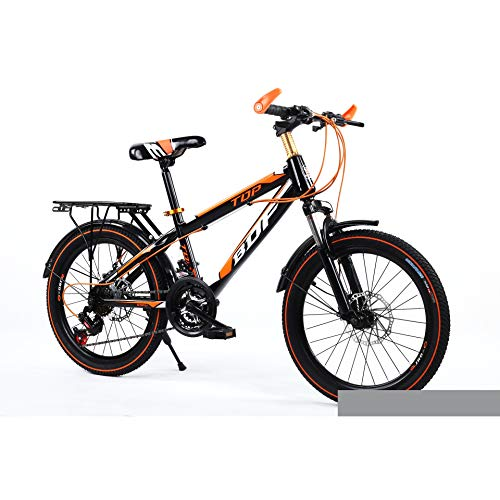 Unisex Hardtail Mountain Bike 20 inch, 24 inch High-Carbon Steel Frame Bicycle 21 Speeds Disc Brakes with Suspension Forks,Orange,20Inch