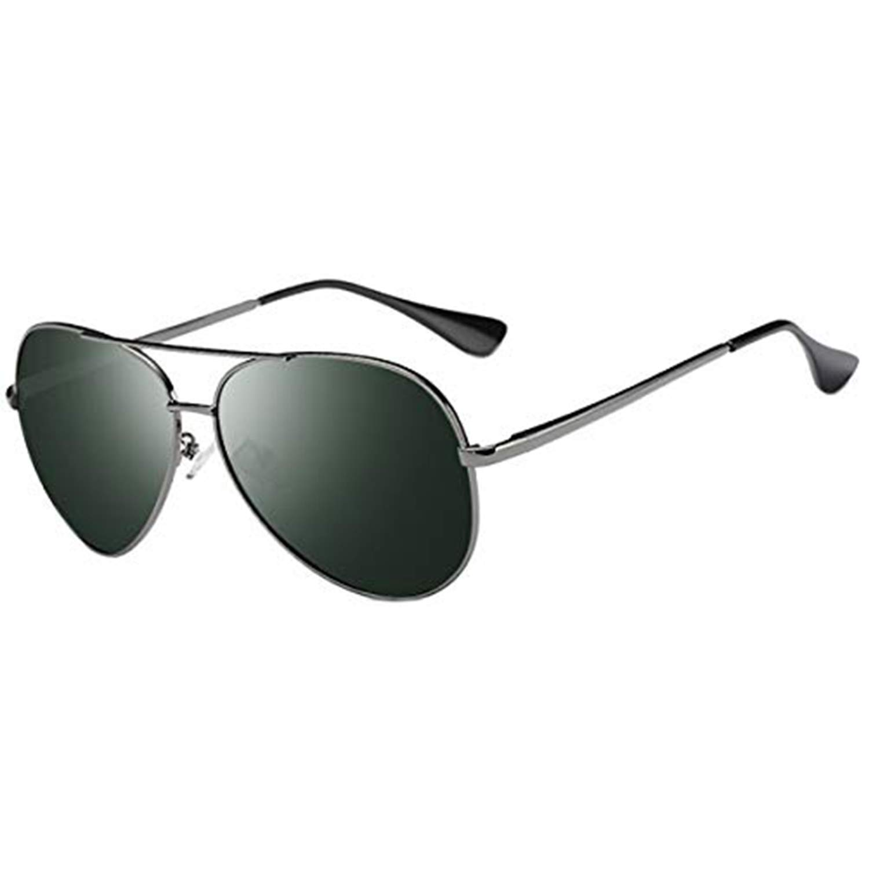 Polarized Aviator Sunglasses for Men-FEIDU Metal Frame Sunglasses Mens Womens Unisex FD4004 (dark green/gun, 62) by FEIDU