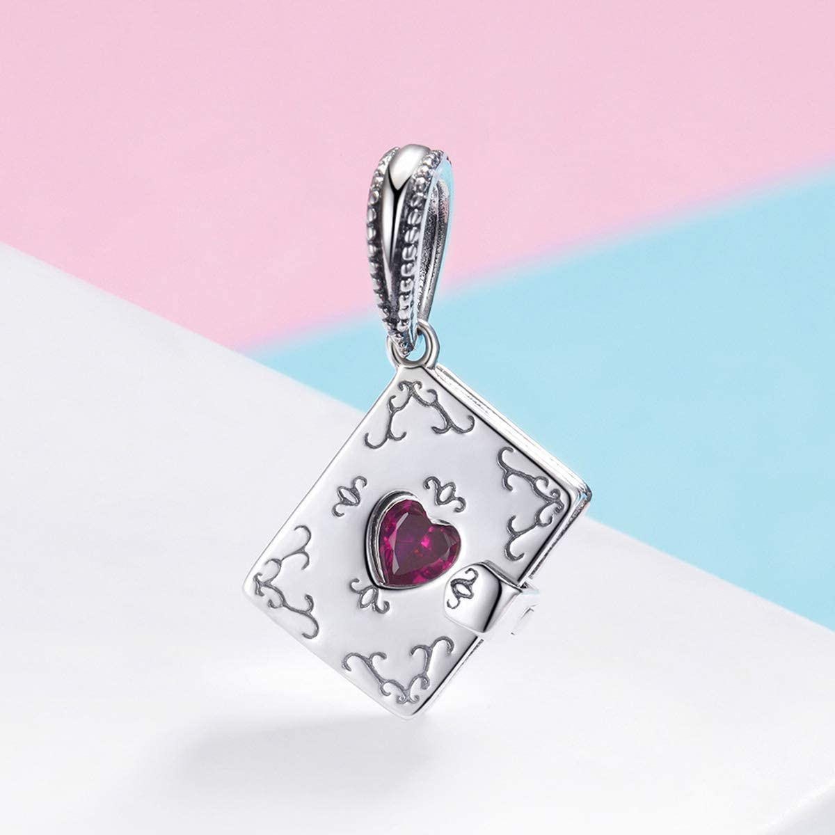 The Kiss Forever Love Note Book Heart Dangle 925 Sterling Silver Bead Fits European Charm Bracelet