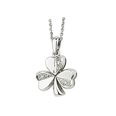 Amazon diamond shamrock necklace 14k white gold irish made jewelry diamond shamrock necklace 14k white gold irish made audiocablefo