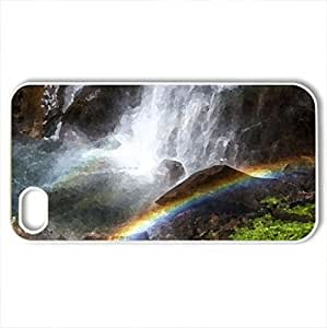 beautiful rainbow at the bottom of a waterfall hdr - Case Cover for iPhone 4 and 4s (Waterfalls Series, Watercolor style, White) by icecream design