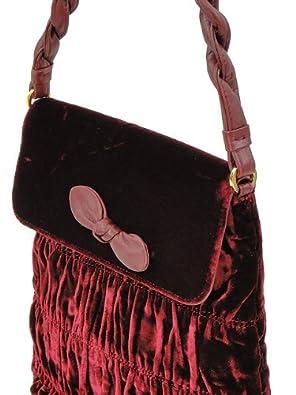 58dfe89e8eb2 Moschino Handbag - Burgundy Ruched Velvet Handbag  Handbags  Amazon.com