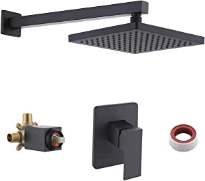 KES Pressure Balance Shower System Bathroom Shower Faucet Square Rainfall Shower Head Combo All Metal Wall Mount Matte Black (Including Rough-In Valve Body and Trim), XB6210-BK