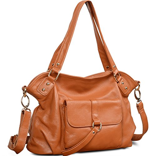 YALUXE Women's New Casual Style Soft Genuine Leather Top Handle Cross Body Shoulder Bag Brown (Handbag Soft)