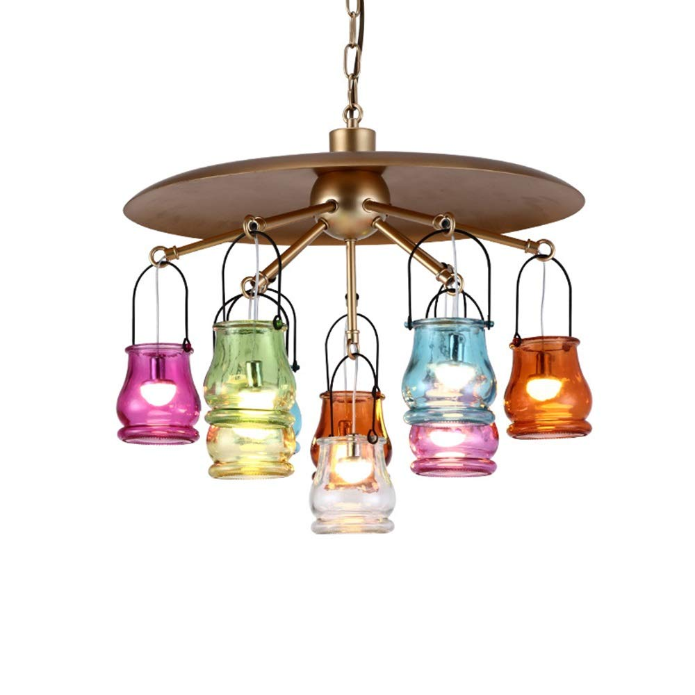 Chitty Bronze Country Chandelier Personality Creative Bar Cafe Chandelier Retro Industrial Wind 10 Colorful Glass Chandelier Creative