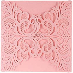 FEIYI 25 Pieces Laser Cut Lace Flower Pattern Invitations Cards For Birthday Baby Shower Wedding Rehearsal Dinner Invites Birthday Invitation With Self Adhesive Bowknot Ribbons (Pink)
