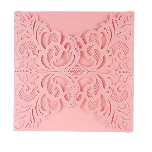 FEIYI 25 Pieces Laser Cut Lace Flower Pattern Invitations Cards For Birthday Baby Shower Wedding Rehearsal Dinner Invites Birthday Invitation With Self Adhesive Bowknot Ribbons (Pink Floral Wedding Invitation)