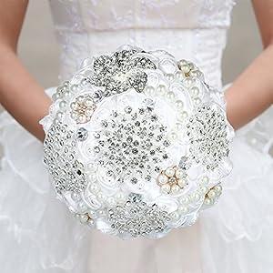 Decdeal Wedding Flowers Bridal Bouquets, 18cm Satin Rose Rhinestone Pearls Bridesmaid Bouquet 99