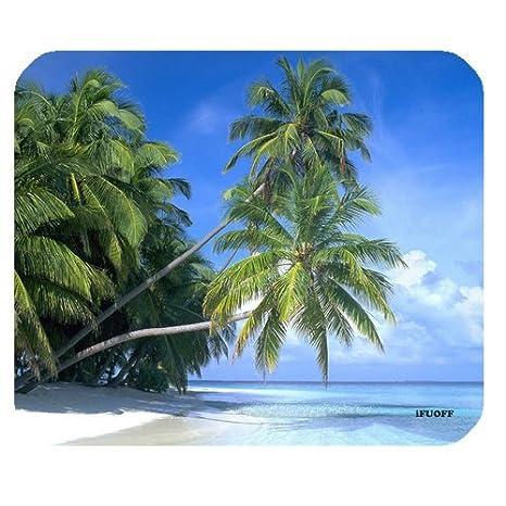 MP2879 Tropical Paradise Sunshine Beach Coast Sea Palm Trees Mousepad,Custom Oblong Shaped Mouse Pad
