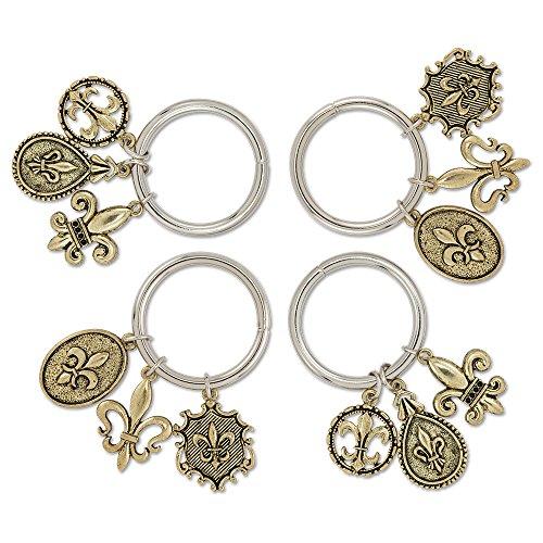 Epic Products Fleur De Lis Charm Napkin Rings (Set of 4), Gold