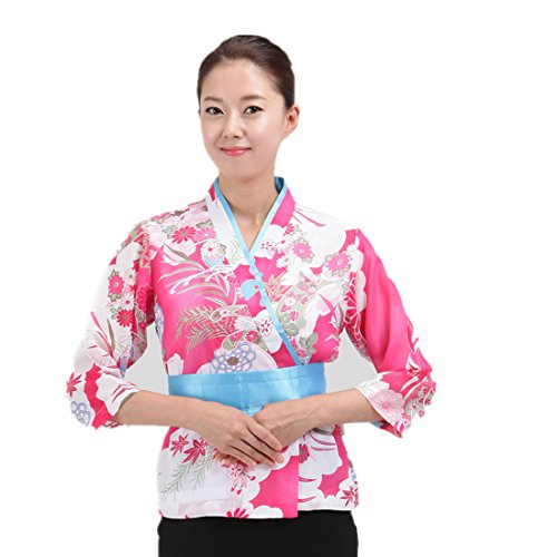 Japanese Pink Sushi Chef Coat with Flower Pattern for Women Restaurant -