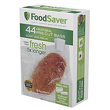 FoodSaver FSFSBF0226-FFP Bags with Unique Multi Layer Construction Vacuum Sealers, 44 Bags, FFP Packaging, Clear