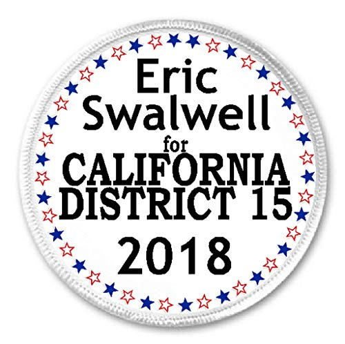"Eric Swalwell for California District 15 2018-3"" Sew/Iron On Patch Election"