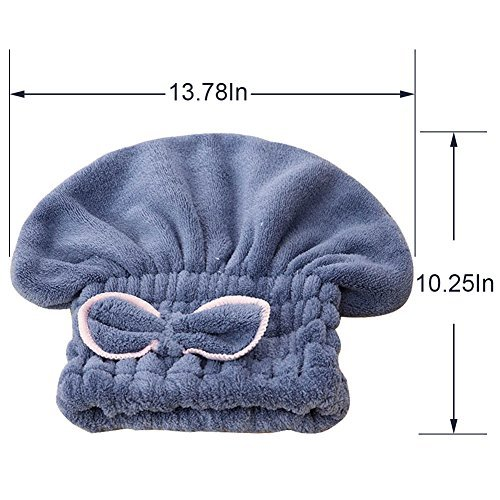 SweetCat 2PC Microfiber Hair Drying Caps, Extrame Soft & Ultra Absorbent, Fast Drying Hair Turban Wrap Towels Shower Cap for Girls and Women (Blue+Beige) by SweetCat (Image #2)