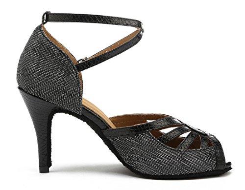 Tda Dames Peep Toe Enkelbandje Glitter Salsa Tango Ballroom Latin Moderne Dansschoenen 8.5cm Zwart