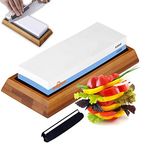 Knife Sharpening Stone - Double-Sided Waterstone - 1000/6000 Grit Whetstone - Non-Slip Bamboo Base and Angle Guide - Perfect Tool for Polishing Kitchen Knives, Hunting Blades. Diamond Whetstone Set