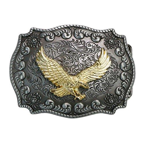 Big Cowboy Belt (Landisun Western Cowboy Belt Buckles for Men Women Golden Eagle)