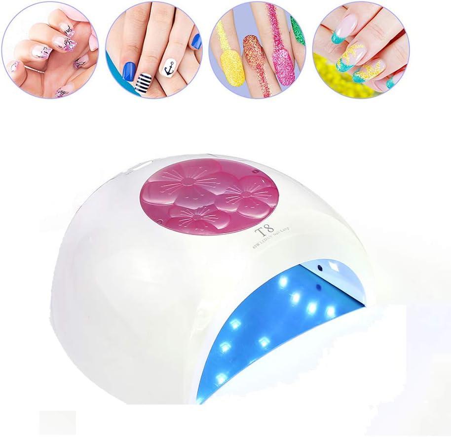 CXQZLH 65W UV LED Secador de uñas Fuente de luz Doble Lámpara de uñas Herramienta de Arte de uñas para Todos los geles de uñas con 4 temporizadores, 33 Leds