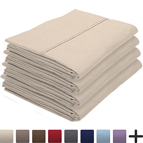 Bare Home 4 Pillowcases - Premium 1800 Ultra-Soft Collection - Bulk Pack - Double Brushed - Hypoallergenic - Wrinkle Resistant - Easy Care (Standard - 4 Pack, Sand)