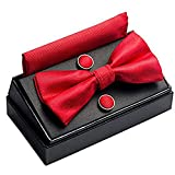 OUMUS Adjustable Classical Men's Bow Tie, Pocket Square, Cufflinks Set, Gifts for Birthday, Chinese New Year and Holiday