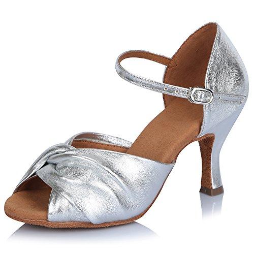 SWDZM Mujer estándar Zapatos de baile latinos Cuero Ballroom modelo AF-810 Plateado
