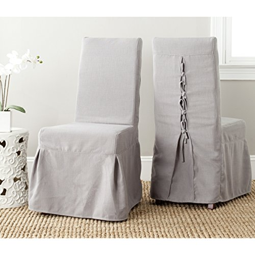 Adrianna Collection - Safavieh Mercer Collection Adrianna Slipcover Chair, Artic Grey, Set of 2