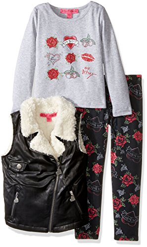 Betsey Johnson Little Girls' 3 Piece Motorcycle Vest Set,...