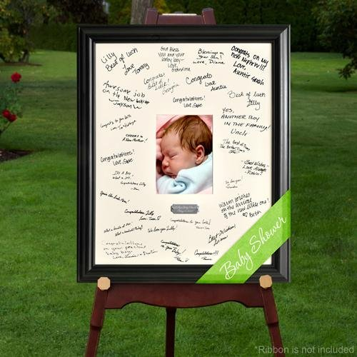 Creative Structures Personalized Gift - Celebrations Baby, Child Signature Guest Book Picture Photo/Photograph Frame - With Engraved Brushed Silver Plate