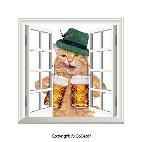 (SCOXIXI Open Window Wall Mural,Cool Cat with Hat and Beer Mugs Bavarian German Drink Festival Tradition Funny Humorous Decorative,for Living Room(25.86x22.63 inch))