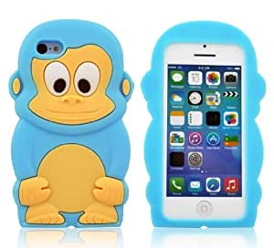 FiveBox 3D Cartoon Cute Monkey Style Soft Silicone Cover Case For Apple iPhone 5C - Light Blue