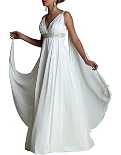 b7c4670dae5 Ethel Women s V-Neck Chiffon Greek Style Crystal Wedding Dress Formal Party  Gown