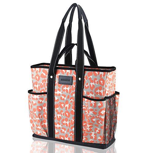 DEMOMENT Canvas Tote Bag Utility Teacher Tote Bag Handbag Shoulder work Bag (Pink Leopard)