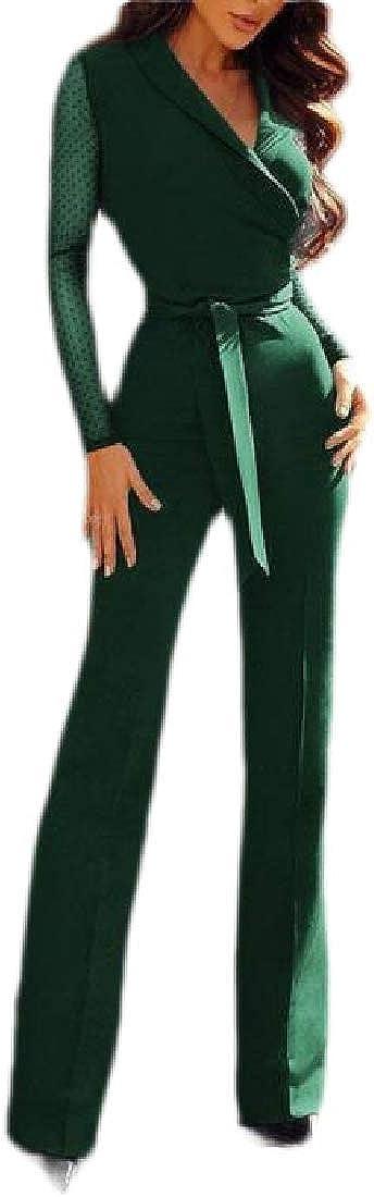 pipigo Womens Mesh Belted Patchwork V-Neck Long Sleeve Jumpsuit Romper