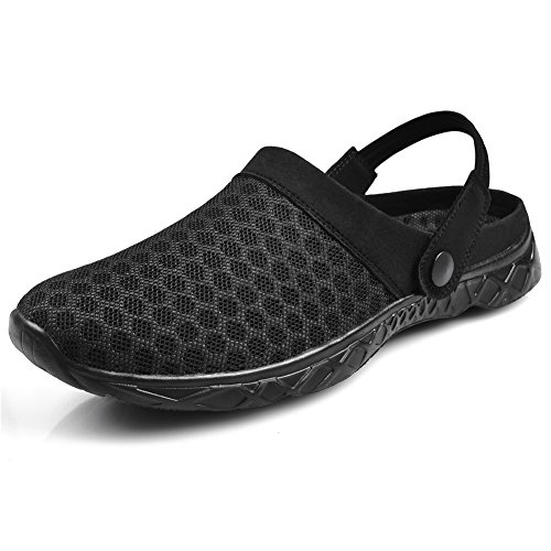 QANSI Womens Girls Summer Mesh Slip on Loafers Walking Sneakers Shoes Indoor Nursing Clogs Slippers Black US 9.5 W (Sneakers Summer)