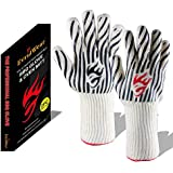 Evridwear 932°F Extreme Heat and Cut Resistant BBQ Gloves Oven Mitts, Non-Slip Silicone Coated Pot Holders for Cooking, Baking, Grilling, Camping, Fireplace and Microwave (Extended Cuff, Zebra)