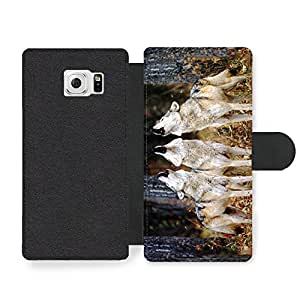 Wolves Howling White Wolf Pack Faux Leather case for Samsung Galaxy S6