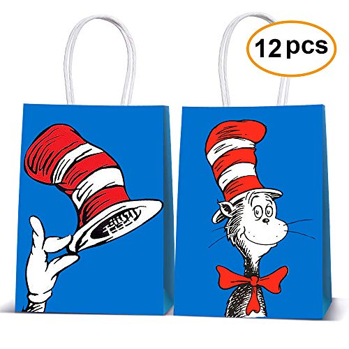 Dr Seuss Birthday Party Theme (Cat's Hat Goodie Bags Filled with Candies Toys Goods for Cat and The Hat Carton Theme Party Decorations (12 Pack Bags)