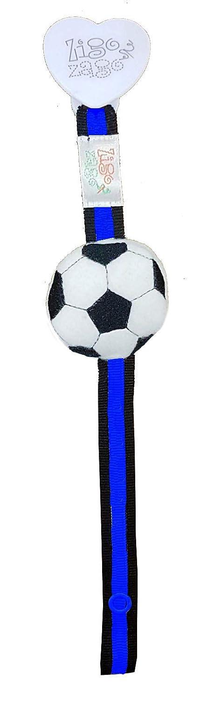 zigozago - porta chupete A rayas Negro Azul con balón de ...
