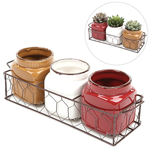 MyGift Set of 3 Small Rustic Ceramic Plant Pots w/ Double Handle Planter Basket (Windowsill Pots compare prices)