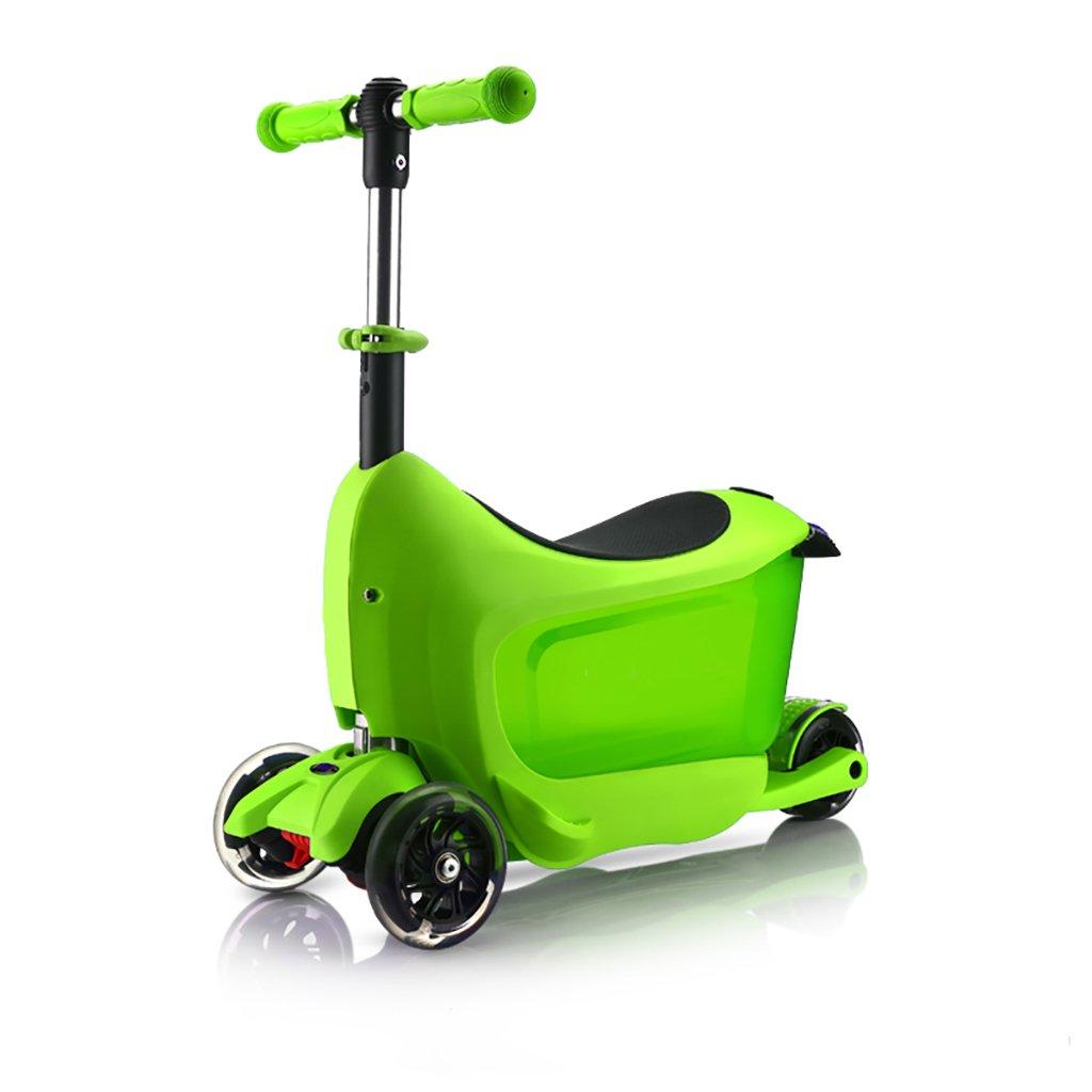 人気ブランドを YONGLIANG Green 子供のスクーター速度の旅客2-3歳の赤ちゃんは B07BPT5WV6、3つの1つを押すことができます4輪のフラッシュ多機能ペダルスライディングブロック B07BPT5WV6 Green Green Green, おかやまけん:329c0760 --- a0267596.xsph.ru