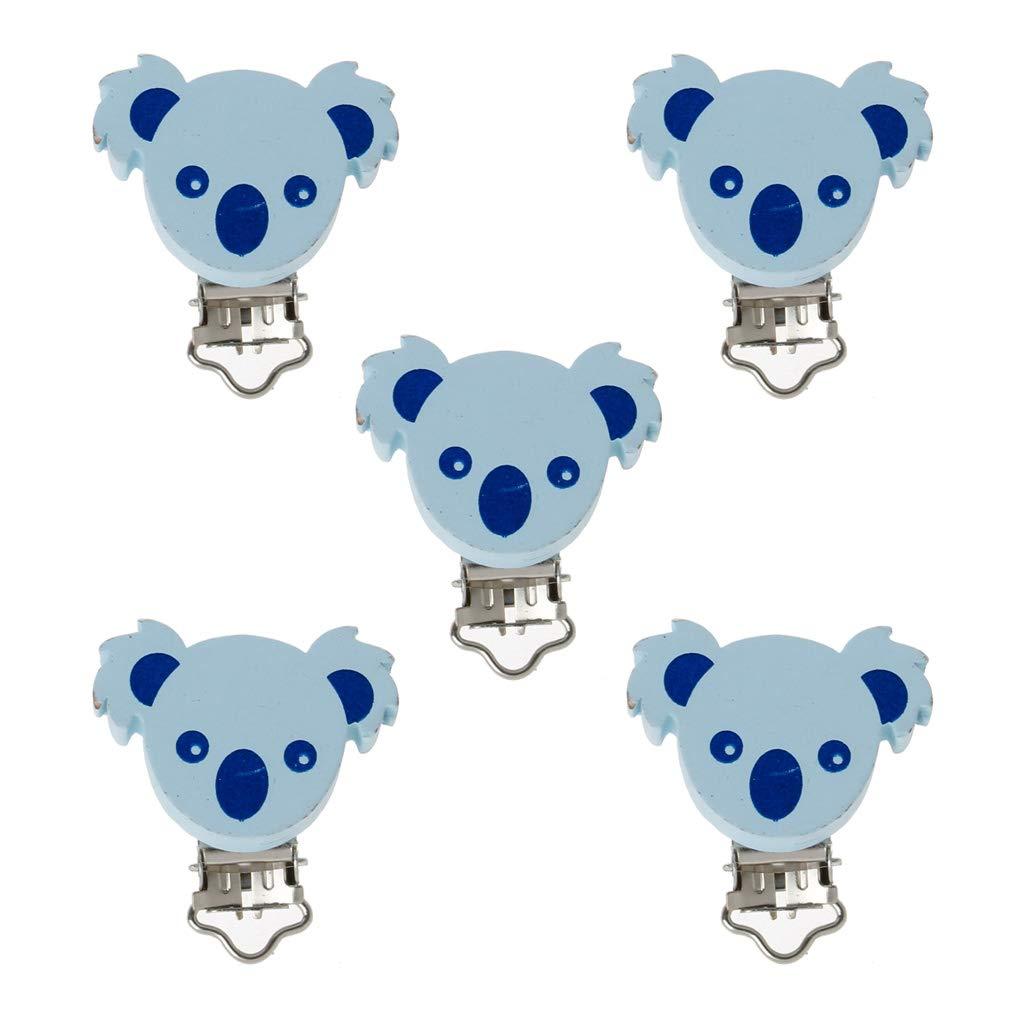 Rose JunYe /5 Pi/èces Belle en Bois Sucette Clip Animal Koala B/éb/é Sucette Clips Dummy Clips DIY T/étine Accessoire