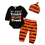 Baby Trick Treat Pumpkin Rompers Striped Pants 3Pcs Halloween Costume Set