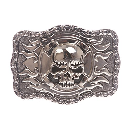 Rectangular Skull with flame Cross Buckle, One Size